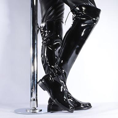 voordelige Dameslaarzen-Dames Laarzen Blokhak Ronde Teen Lakleer Over de knie laarzen Klassiek / Brits Winter / Herfst winter Zwart / Feesten & Uitgaan