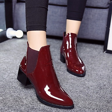 voordelige Dameslaarzen-Dames Laarzen Lage hak Gepuntte Teen PU Korte laarsjes / Enkellaarsjes Herfst winter Zwart / Bordeaux