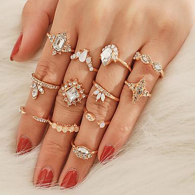 voordelige Dames Sieraden-Dames Ring Ring Set 12st Goud Strass Legering Onregelmatig Klassiek Vintage modieus Lahja Dagelijks Sieraden Klassiek Kroon Peer