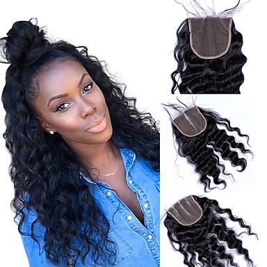 Dolago Brazilska kosa 4x4 Zatvaranje Wavy Besplatno dio / Središnji dio / 3. dio Francuska mrežica Remy kosa / Ljudska kosa Žene s dječjom kosom / 100% rađeno rukom / Čišćenje čipke