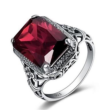 voordelige Herensieraden-Heren Bandring Ring 1pc Rood Koper Verzilverd Glas Geometrische vorm Vintage Modieus Dagelijks Werk Sieraden Vintagestijl Kostbaar Cool