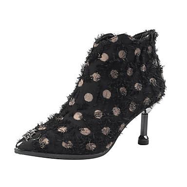 voordelige Dameslaarzen-Dames Laarzen Kleine hak Gepuntte Teen Tissage Volant Korte laarsjes / Enkellaarsjes Brits / minimalisme Herfst winter Zwart