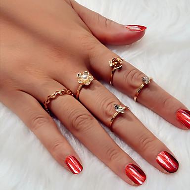 voordelige Dames Sieraden-Dames Ring Ring Set 5 stuks Goud Gesimuleerde diamant Legering Eenvoudig Standaard Punk Kerstmis Lahja Sieraden Klassiek Boom van leven Bloem Schattig Hart Cool