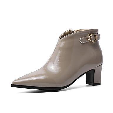 voordelige Dameslaarzen-Dames Laarzen Blokhak Gepuntte Teen Lakleer Korte laarsjes / Enkellaarsjes Informeel / minimalisme Winter Zwart / Wijn / Grijs