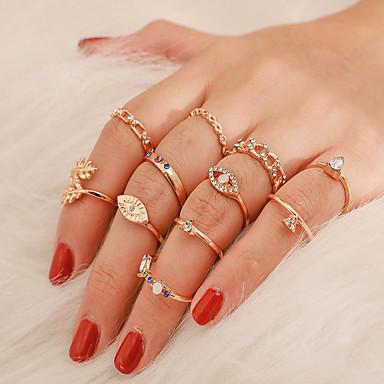 voordelige Dames Sieraden-Dames Ring Ring Set 11pcs Goud Strass Legering Onregelmatig Vintage modieus Etnisch Lahja Dagelijks Sieraden Vintagestijl Ogen Peer