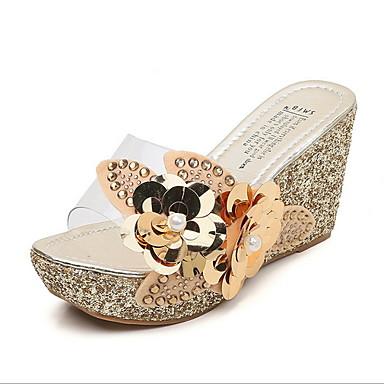 voordelige Damespantoffels & slippers-Dames Slippers & Flip-Flops Sleehak Ronde Teen PU Zomer Zwart / Bruin / Goud