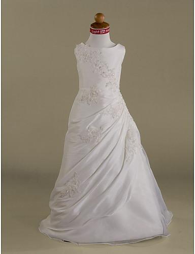 Γραμμή Α / Πριγκίπισσα Μακρύ Φόρεμα για Κοριτσάκι Λουλουδιών - Οργάντζα Αμάνικο Scoop Neck με Χάντρες / Διακοσμητικά Επιράμματα / Πλαϊνό ντραπέ με LAN TING BRIDE® / Πρώτη Κοινωνία / Άνοιξη / Χειμώνας