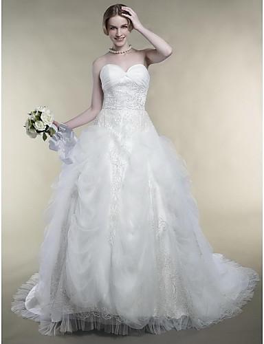 Ball Gown Sweetheart Embroidery Court Train Satin Wedding Dress (OSC002)