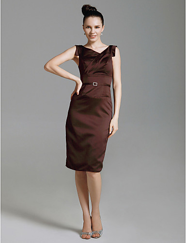 Sheath / Column V Neck Knee Length Stretch Satin Cocktail Party / Wedding Party Dress with Sash / Ribbon by TS Couture®