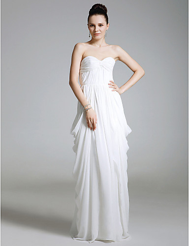 Sheath / Column Strapless Sweetheart Floor Length Chiffon Prom Formal Evening Military Ball Dress with Draping Ruched by
