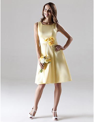 A-Linie Riemen Knie-Länge Satin Brautjungfernkleid mit Drapiert Blume durch LAN TING BRIDE®