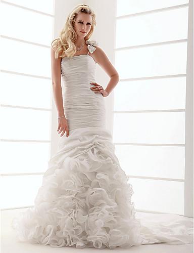 Figursyet Etskuldret Hofslæb Taft Bryllupskjole med Draperede flæser Blomst ved LAN TING BRIDE®