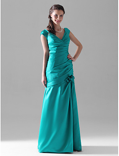 Mermaid / Trumpet V Neck Floor Length Satin Bridesmaid Dress with Flower Ruched Side Draping by LAN TING BRIDE®