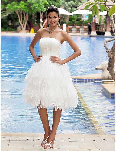 A-Linie Bez ramínek Ke kolenům Organza Satén Vlastní svatební šaty s Vrstvené podle LAN TING BRIDE®
