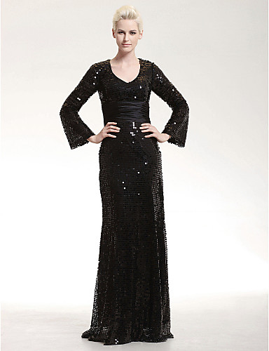 cheap Black Dresses-Sheath / Column Scoop Neck Floor Length Sequined Sparkle & Shine Formal Evening Dress with Sequin / Sash / Ribbon by TS Couture®