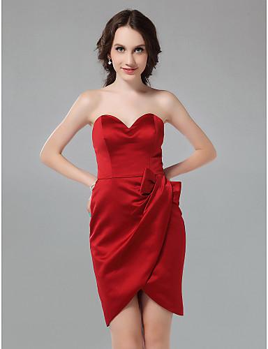 61573d806fe θήκη / στήλη αγαπημένη σύντομο / μίνι φόρεμα παράνυμφων σατέν 171682 2019 –  $99.99
