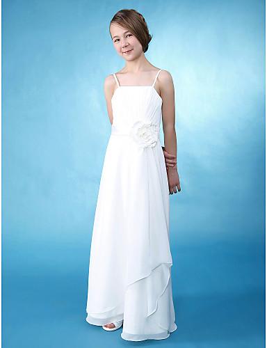 A-Line Sheath / Column Spaghetti Straps Floor Length Chiffon Satin Junior Bridesmaid Dress with Flower Side Draping by LAN TING BRIDE®