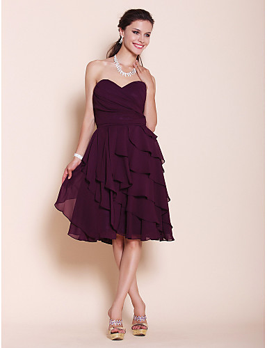 A-Line Princess Strapless Sweetheart Knee Length Chiffon Bridesmaid Dress with Side Draping by LAN TING BRIDE®