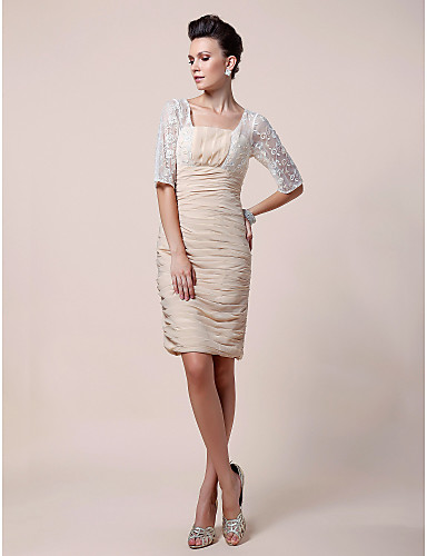 Sheath / Column Square Neck Knee Length Chiffon Lace Mother of the Bride Dress 617 Draping Lace Ruched by LAN TING BRIDE®