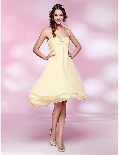 Γραμμή Α / Πριγκίπισσα Στράπλες / Καρδιά Μέχρι το γόνατο Σιφόν Κοκτέιλ Πάρτι Φόρεμα με Χάντρες / Πιασίματα με TS Couture®