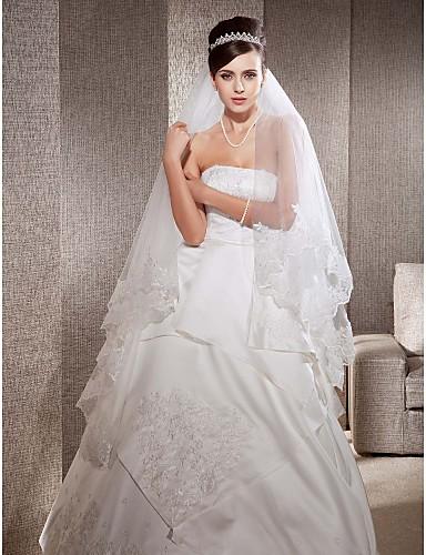 Одноуровневая, свадебная фата, с кружевом