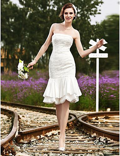 A sirena Senza bretelline Al ginocchio Lace Over Satin Abiti da sposa personalizzati con Di pizzo A strati di LAN TING BRIDE®