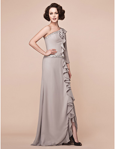 Sheath / Column One Shoulder Floor Length Chiffon Mother of the Bride Dress with Beading Ruffles Split Front by LAN TING BRIDE®