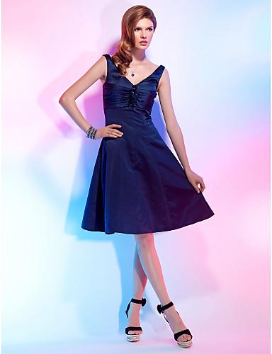 Linia -A Prințesă Mulată În V Lungime Genunchi Satin Petrecere Cocktail Venire Acasă Rochie cu Flori Pliuri de TS Couture®