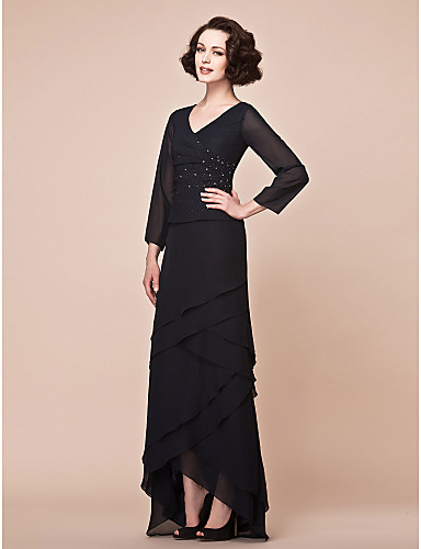 A-Line V Neck Asymmetrical Chiffon Mother of the Bride Dress with Beading / Side Draping by LAN TING BRIDE®