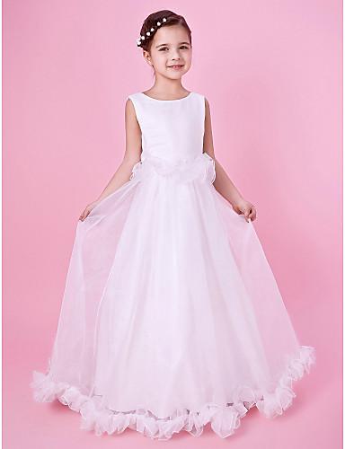 A-line printesa podea lungime floare fată rochie - organza satin fără mâneci gât bijuterie cu volane de lan ting bride®