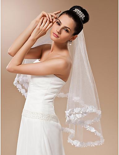 Véus de Noiva Uma Camada Véu Ponta dos Dedos Borda com aplicação de Renda 55,12 in (140cm) Tule Branco Marfim VermelhoLinha-A, Vestido de