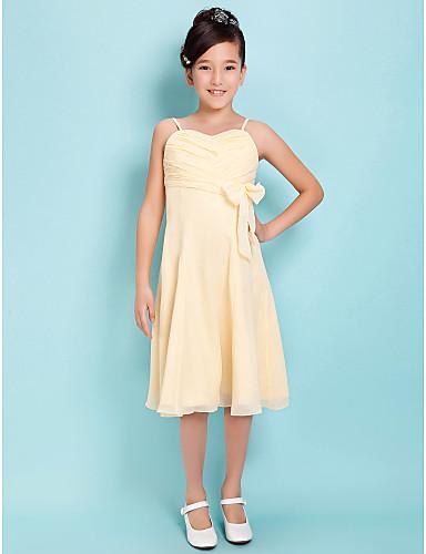 a-line spaghetti stropper søde knælang chiffon junior brudepige kjole med bue ved lan ting bride®