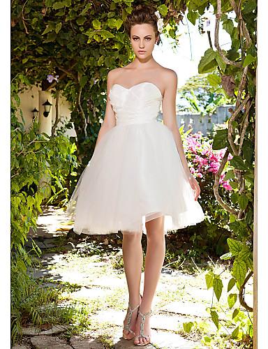 Βραδινή τουαλέτα Καρδιά Μέχρι το γόνατο Ταφτάς / Τούλι Φορέματα γάμου φτιαγμένα στο μέτρο με Πιασίματα / Χιαστί με LAN TING BRIDE®