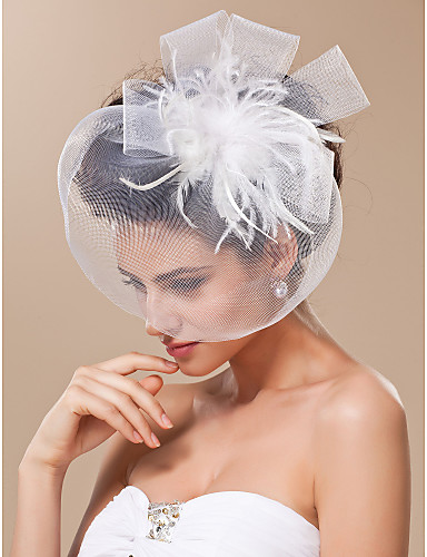 Blusher Veils / Headwear / Birdcage Veils with Feather / Floral 1pc Special Occasion Headpiece