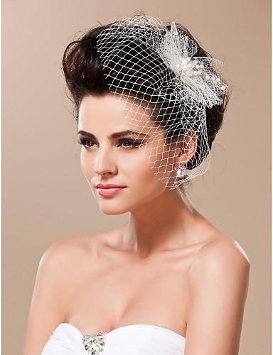 Závoje Jedna vrstva Svatební kloboučky francouzský závoj Oříznutý okraj Tyl