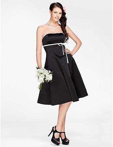 A-Line Princess Strapless Knee Length Satin Bridesmaid Dress with Sash / Ribbon by LAN TING BRIDE®