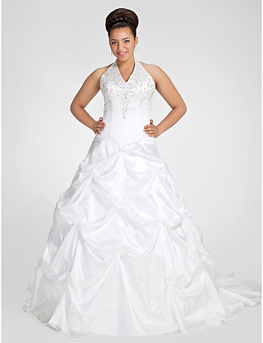4c7406eded Plus Size Ball Gown V Neck Chapel Train Taffeta Made-To-Measure Wedding  Dresses with Beading   Embroidery   Pick Up Skirt by LAN TING BRIDE®