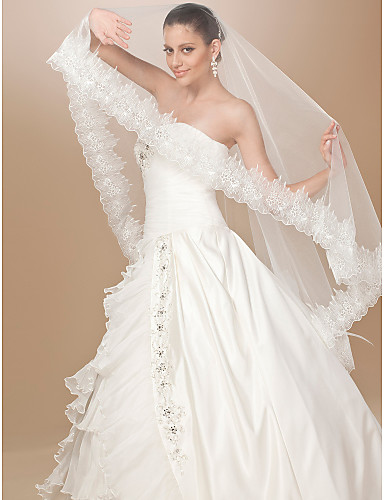 One-tier Tulle Lace Applique Edge Fingertip Wedding Veil With Embroidery