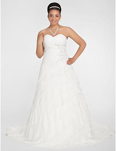 Corte en A Princesa Escote Corazón Capilla Raso Vestido de novia con Cuentas Apliques En Cruz Fruncido por LAN TING BRIDE®