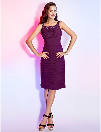 Sheath / Column Scoop Neck Knee Length Chiffon Cocktail Party Dress with Beading Draping Ruched by TS Couture®