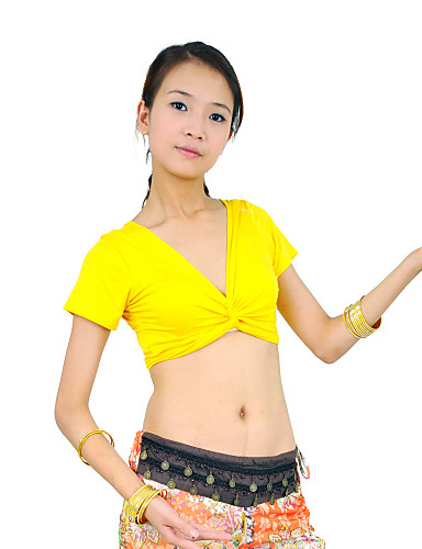 Belly Dance Tops Women's Training Mercerized Cotton Short Sleeve