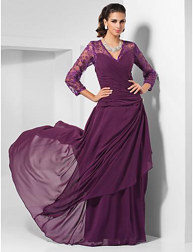 Ίσια Γραμμή Λαιμόκοψη V Μακρύ Σιφόν Επίσημο Βραδινό Φόρεμα με Χάντρες / Δαντέλα / Πλαϊνό ντραπέ με TS Couture® / Ψευδαίσθηση