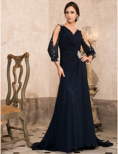 A-Line V Neck Sweep / Brush Train Chiffon Formal Evening / Military Ball Dress with Beading Crystal Detailing by TS Couture®
