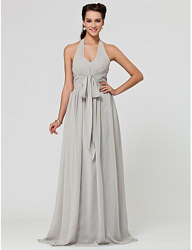 A-Line Princess V Neck Halter Floor Length Chiffon Bridesmaid Dress with Draping Sash / Ribbon Ruched by LAN TING BRIDE®