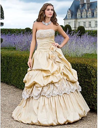 Haine Bal Fără Bretele Lungime Podea Tafta Inspirație Vintage Seară Formală Rochie cu Mărgele / Dantelă / Flori de TS Couture®