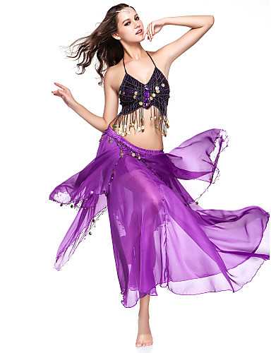 Belly Dance Outfits Women's Performance Chiffon Coin Dropped
