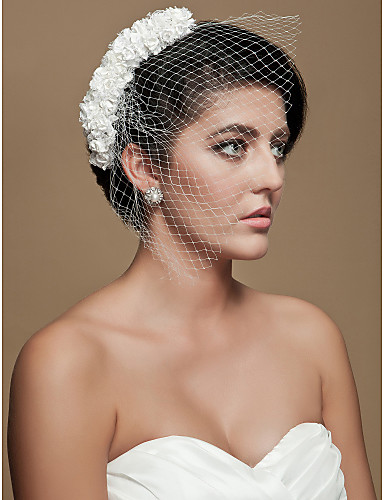 화려한 명주 결혼식 신부 하얀 꽃 머리 장식