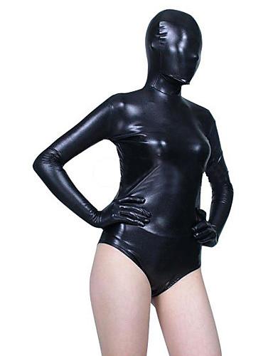 halpa Zentai-Kiiltävät Zentai asut Ihon puku Ninja Aikuisten Spandex Lateksi Cosplay-asut Sukupuoli Naisten Musta Yhtenäinen Joulu Halloween / Erittäin elastinen