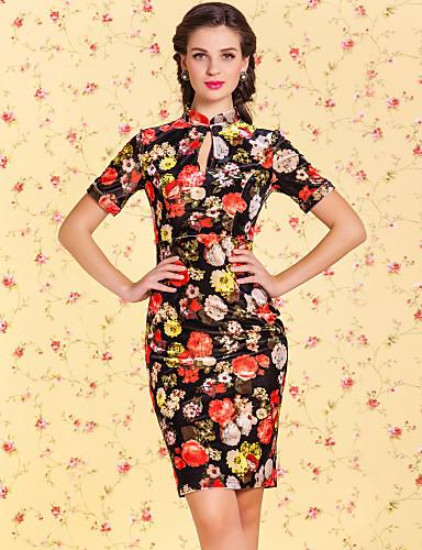 TS VINTAGE Velvet Floral Print Bodycon Chineses Dress