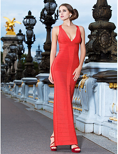 Cocktail Party / Formal Evening Dress - Ruby Petite Sheath/Column V-neck Ankle-length Rayon